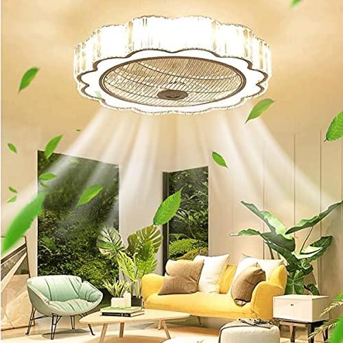HAITOY Lámpara de Techo para Sala de Estar con Ventilador LED, Candelabros de Cristal con Control Remoto, 3 Velocidades, 3 Tiempos para Dormitorio, Comedor, Dormitorio, Lámpara Colgante
