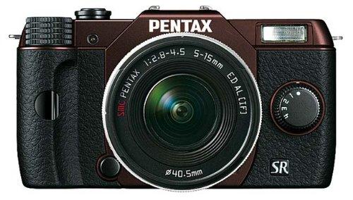 Pentax Q10 Systemkamera mit 5-15mm Objektiv (7,6 cm (3 Zoll) LCD-Display, 12,4 Megapixel Kamera, Full HD, mini HDMI, USB 2.0) metallic braun/schwarz