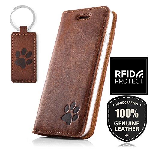SURAZO Handy Hülle Für Samsung Galaxy A50 - Pfote - RFID Smart Magnet Nubuk Nussbraun - Glattleder Premium - Vintage Wallet Case