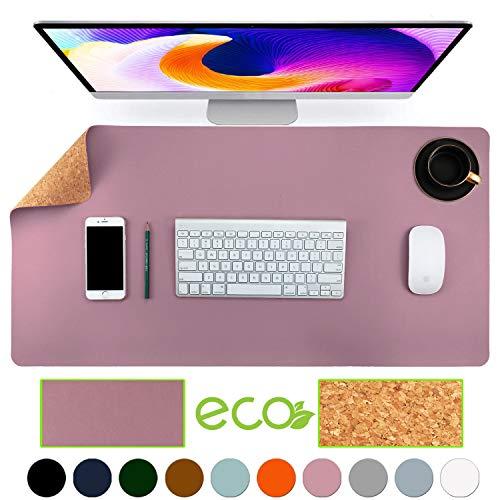 Aothia umweltfreundliche Naturkork &Leder Schreibtischunterlage 80 * 40cm Mauspad glatte Oberfläche weich einfach sauber wasserdicht PU-Leder Schreibtischschutz für Büro/Heimspiele(violett)