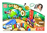 Domino Laying Train & Plane Toy: 120 Domino Pieces – Automatic Domino Train with Plane, Stacking Domino Train for Kids, Domino Train Toy, Easy to Use and Fun Educational Toy for Kids