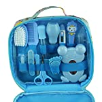 Baby Grooming kit Set Infant Baby Grooming Tools Newborn Manicure Set Baby Healthcare Nail Clippers Hairbrush Tool Set(13PCS) (Blue)