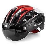 Shinmax Casco Bicicleta con luz, Certificación CE,con Visera Magnética Seguridad Ajustable Desmontable Deporte Gafas de Protección Ligera para Montar Ski & Snowboard Unisex Cascos Bici Adultos