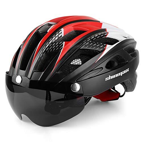 Shinmax Casco Bici con Luce di LED,Certificato CE, Casco con Visiera Magnetica Staccabile Shield Casco da Bici Leggero Casco...