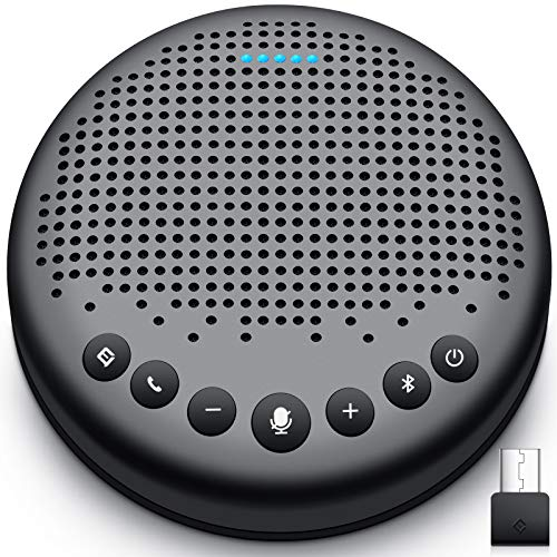eMeet Bluetooth Konferenzlautsprecher - USB Freisprecheinrichtung für 5-10 Personen, Speakerphone 360° Spracherkennung, mit USB Dongle, für Zoom, Skype, VoIP-Kommunikation PC, Skype for Business usw.