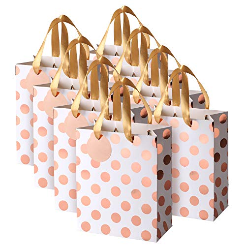 Rose Gold Gift Bags with Handles and Gift Tags, Blush Pink Medium, for Birthday, Sweet 16, Christmas Holidays Wedding Shower Graduation 8 Pack