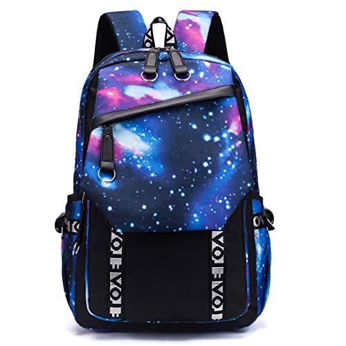 J.W. 17inch Rucksack für Teenage Galaxy Anti-Diebstahl-Water Resistant Durable zufällige Rucksack Laptop-Rucksack mit USB-Ladeanschluss für Studierende Reisen Daypack Taschen,Blau