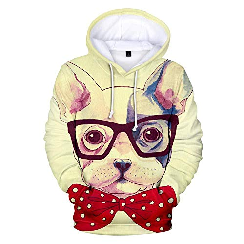 yyqx container Hooded Casual 3D Printing Hoodies French Bulldog Khaki with Red Bow Long Sleeves Breathable Unisex Sweatshirts Adjustable Drawstring Pullovers with Kangaroo Pocket-Color_S