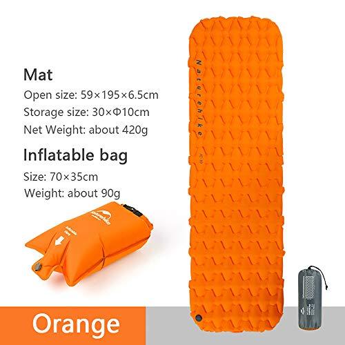 iBasingo Aufblasbare Matte Camping Bettwäsche Schlafmatte Im Freien Wandern Single Zelt Luftmatratze Ultraleicht Feuchtigkeitsfest Kissen Luftsack (Matratze und Luftsack - Orange)