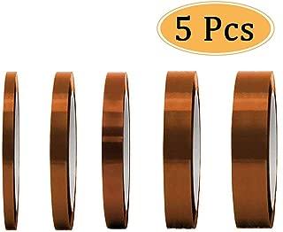 GOTONE 5 Piezas Cinta de Alta Temperatura (3/5/6/12/20MM) Cinta Adhesiva Kapton para Soldar, Recubrimiento en Polvo, Sublimación, Placa de Circuito Aislantes (30M)