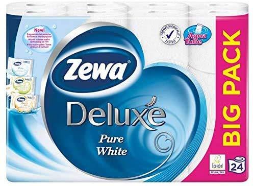 ZEWA Deluxe Pure White große Packung Toilettenpapier 3 lagig 48 Rollen | Klopapier, WC-Papier 24 Rollen x 2 Packungen