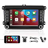 Double Din Android Car Stereo for VW Passat Golf Polo Jetta Compatible with Apple CarPlay 7'' Touch Screen in Dash GPS Navigation with WiFi Bluetooth Mirror Link FM Radio TF/USB SWC Backup Camera