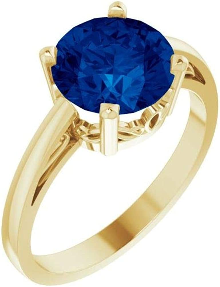 Solid 14k Yellow Gold Lab-Created Band Ring Sapphire Import List price Width Blue