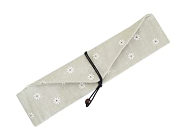 Linshing Reusable Tableware Bag for Storage Chopsticks or Spoon or Fork 2 Pcs (White Daisy)