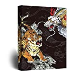 wall26 - Canvas Wall Art - Drawing of an Angry Tiger and a Chinese Dragon on Black Background - Giclee Print Gallery Wrap Modern Home Art Ready to Hang - 24x36 inches