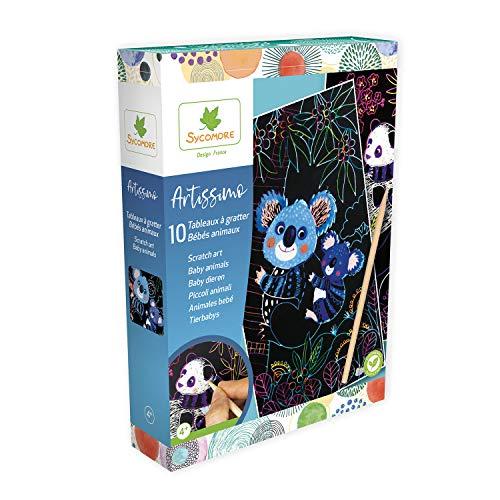 SYCOMORE-CREA010 Artissimo-10 Kratztafeln Tiere - Kreative Vögel für Kinder - 4 Jahre - Ycomore-CREA010, CREA010