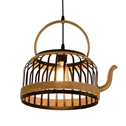 Amerikanischen LED Kronleuchter Retro Hanfseil Kreative Teekanne Hängelampe Industrie Catering Tee Shop Bar Dekoration Lampe Persönlichkeit Schmiedeeisen Deckenleuchte XYJGWDD