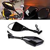 Universal Motorcycle Indicator 10mm 8mm Rear View Side Mirrors Integrated LED Turn Signals Fit for Street Bikes Cruiser Scooters