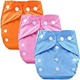 Bembika B Plus Solid Cloth Diapers for Babies, Washable Reusable, Adjustable Sizes (3 Combo) (No Inserts Included) 3C