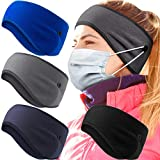 4 Pieces Button Ear Warmer Headband Thermal Headband Winter Fleece Running Headband Button Ear Cover for Women Men Cycling Skiing Jogging Workout Yoga (Black, Gray, Royal Blue, Blue)