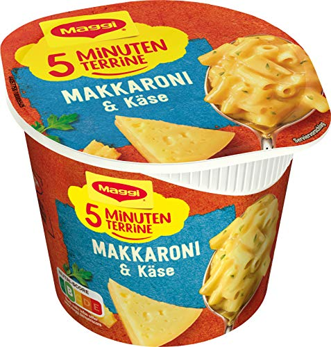Maggi 5 Minuten Terrine Makkaroni und Käse, leckeres Fertiggericht, Instant-Nudeln in cremiger Käsesauce, 1er Pack (1 x 63g)