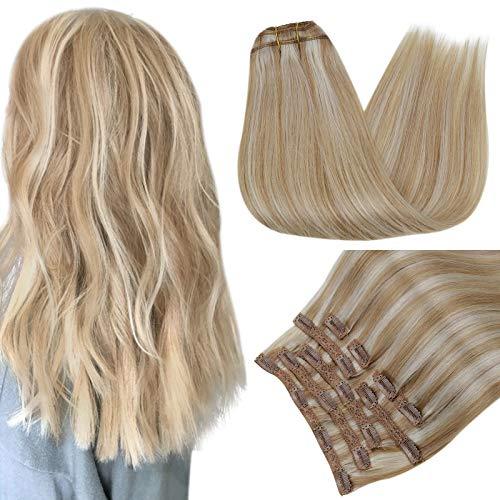 RUNATURE Clip in Extensions Echthaar 100g 12 Zoll Farbe 12P60 Dunkelblond Hervorgehoben mit Platinblond Haarverlängerung 9 Stück Haarextension Echthaar Clips