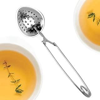 Happy Sales Long Handle Loose Leaf Snap Tea Infuser Spoon, Stainless Steel Mesh, 1.5-Inch