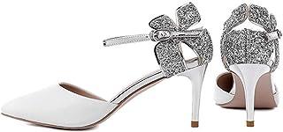 Dress Interview High Heels, Banquet High Heels, Pointed High Heels Shoes, Stage High Heels, Bridesmaid High Heels, Fashion Princess High Heels, (Color : White, Size : 35)