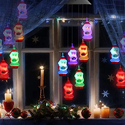 Solar Santa Claus Wind Chime Outdoor Indoor, Color Changing LED Solar Powered Wind Chime Light, Mobile Hanging Wind Chime for Home, Patio, Garden, Window, Christmas, Party Decoration