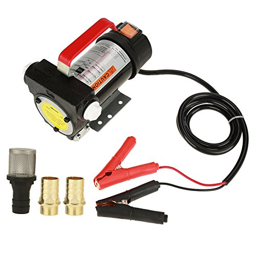 Selbstansaugende Pumpe, 12 V 40 L/min Tragbare Selbstansaugende Kraftstoff Dieselpumpe Öltransferpumpe G3/4 Auslass für 1 Zoll Schlauch Luftpumpe Elektropumpe