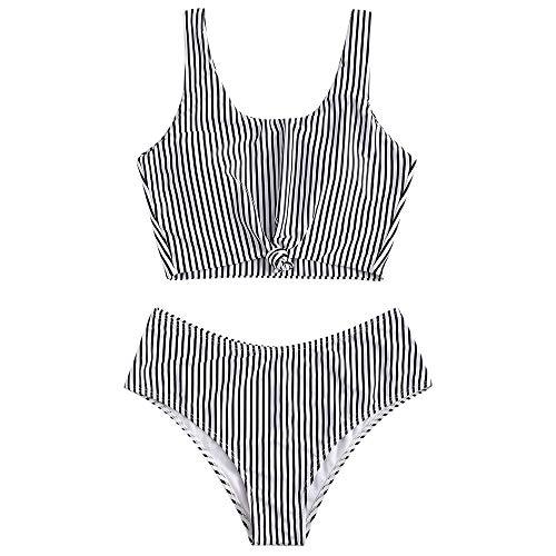 ZAFUL Zweiteiliger Beachwear Set, verknotet Oberteil mit Schulterträger & Tropisches Blattmuster Badehose (Streifen, M (EU 38))