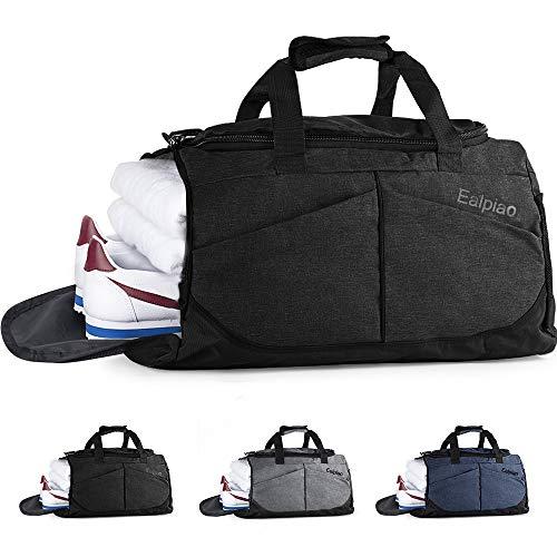 Bolsa de Deporte con Compartimento para Zapatos Viaje Impermeable Plegable Bolsa Gimnasio de Viaje Mochila Multiusos Travel Duffle Bag (Negro)