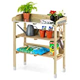 CHRISTOW Potting Table Bench With Hooks & Shelves, Wooden Outdoor <span class='highlight'>Garden</span> Table For Potting Plants, Galvanised Metal Top, H89cm x W76.5cm x D37cm