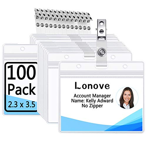 Clear Plastic Horizontal Nametag Badge Holders and Metal Badge Clip with Vinyl Straps Waterproof PVC ID Card Holder by LONOVE (100 Pack, Horizontal 2.3x3.5)