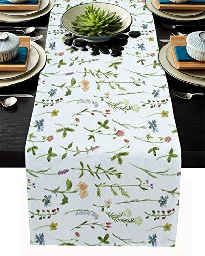 FAMILYDECOR Camino de mesa de arpillera de lino, bufandas de 45,7 x 182,8 cm, variedad de flores, caminos de mesa para fiestas de vacaciones, comedor, cocina, decoración de boda
