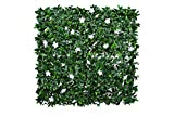 GreenBrokers A1136-04 Green Artificial Wall Hedge with Dark Leaf Foliage and White Flowers (Pack of 4) -UV Stable Vertical Garden