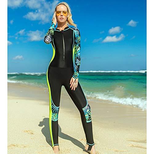 HUOFEIKE Traje De Neopreno De Cuerpo Entero para Mujer Lycra Traje De Buceo De Surf Transpirable Protector Solar De Manga Larga Traje De Snorkel Traje De Medusa Windsurf Kayak A Motor,VF,XL