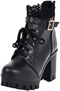 Women Solid Thick High Heel Lace Up Ankle Boots ❀ Ladies Platform Lace Student Shoes Fashion Button Short Booties