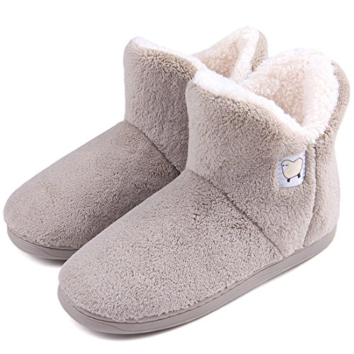 Dailybella Women Warm Plush Slipper Boots Cozy Wool Indoor Outdoor Home Shoes (9-9.5 B(M) US, Camel)