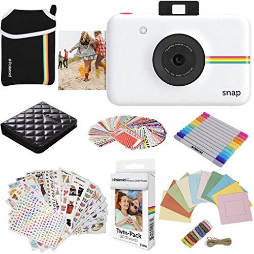 Polaroid Snap Appareil Photo numérique à Impression instantanée (Blanc) Paquet de Protection avec 20 Feuilles de Papier Zink