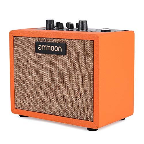 ammoon Mini Amplificador de Efector de Guitarra de Escritorio de 5W, con 7 Modelos de Altavoces Frontales, 4 Efectos (Chorus/Tremolo/Delay/Reverb), con Conector de Salida de Auriculares de 3,5