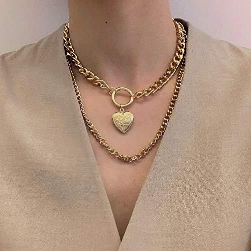 Tisi - Collar con colgante de cadena larga punk chapado en oro hecho a mano, medallón de serpiente, cadena de eslabones cruzada, ajustable, simple gargantilla para mujeres y hombres (B)