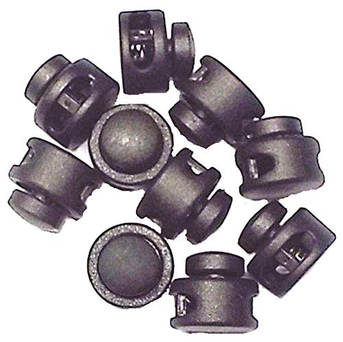 10 Kordelstopper 2-Loch Kunststoff bis 3 mm Kordelstärke schwarz