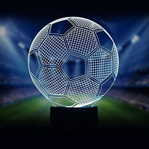 Nouveauté Football 3D Illusion Lampes de Bureau 7 Couleurs Clignotant USB Câble Interrupteur Tactile Led Nightlights Incroyable Coupe du Monde Football Fans Collection Cadeaux