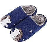 Cute Hedgehog House Slippers for Women Animal Indoor Slippers Waterproof Sole Fuzzy Home Slippers, Navy Hedgehog, 4.5-5.5 Women/3.5-4.5 Men