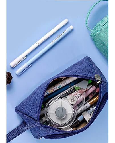 ペンケース大容量筆箱横からも開くシンプル(ブルー)