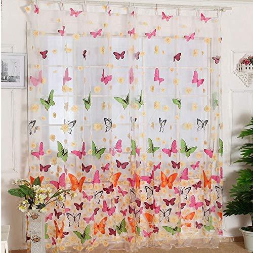 TEQIN Voile-Vorhang mit Schmetterlings-Motiv, 2 Stoffbahnen mit Ösen, für Wohnzimmer, Schlafzimmer, 180 x 210 cm