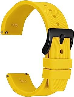 WOCCI Bracelet de Montre en Silicone à Rayures avec Boucle Noire, Bande de Remplacement à Dégagement Rapide, 18 mm 20 mm 2...