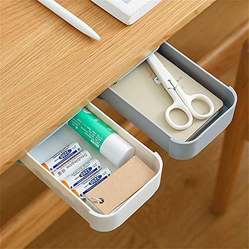 2 Pack Under Desk Drawer,Desk Organizer,Hidden Self-Adhesive Pencil Tray Drawer,Storage Box Small,Desktop Drawer Tray Stationery Pencil Storage Drawer Organizer for Office/School/Kitchen