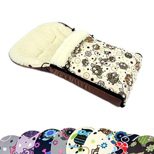 BAMBINIWELT universaler Winterfußsack (90cm oder 108cm), auch geeignet für Babyschale, Kinderwagen, Buggy, aus Wolle im Eulendesign (108cm, 5)